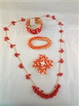 Kenneth Jay Lane Gold Tone Coral Jewelry Group: (2) Bracelets, Necklace, Brooch