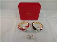 Kenneth Jay Lane (2) Clamper Bracelets with Matching Earrings