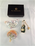 (3) Graziano Brooches Original Boxes: Fish, Tree, Champagne Bottle