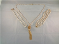 (3) Kenneth Jay Lane Pearl, Gold Tone Necklaces