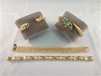 (4) Kenneth Jay Lane Bracelets: (2) Clamper, (2) Regular
