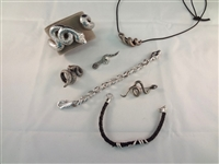 Sterling Silver Snake Jewelry Group: Ring, (3) Bracelets, Brooch, Pendant, Necklace