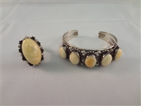 Desert Rose Trading Sterling SIlver Cuff Bracelet and Matching Ring