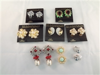 (8) Kenneth Jay Lane Clip On Earrings New Tags