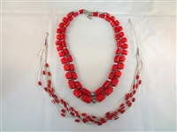 Southwest Sterling Silver and Red Stone Jewelry Group: (2) Necklaces