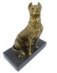 Vintage Cast Bronze Dog on Marble Base Statue