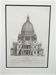 Henry Hulsbergh Engraving of Christopher Wrens St. Pauls Church