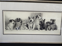 "Meyer Eberhardt Original Etching ""Radiening"" Dogs"