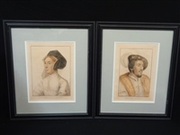 Francesco Bartolozzi Pair Engravings King Henry VIII, Jane Seymour After Holbein Original Drawings