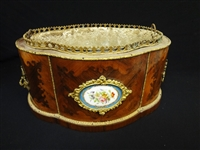 Sevres France China Planter: Inlay Curved Wood and Accent Porcelain Sevres Disk