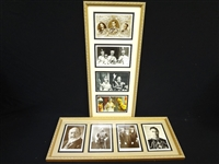 English Royalty Vintage Postcards in Frame: George V, VI, and QEII