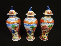 Chinese Garniture Trio of Lidded Urns Foo Dog Finial