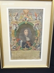 18th Century Hand Colored Engraving Charles II Matted and Framed