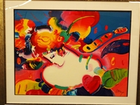 "Peter Max Signed Oversize Serigraph ""Great Flower Blossom Lady II"""