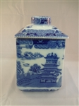 1930s Ringtons Porcelain Blue and White Tea Caddy