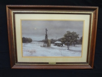 "Martin Grelle Lithograph ""Winter in Mills County"" Matted and Framed"