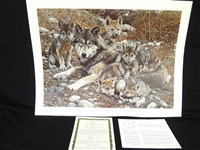 "Carl Brenders ""Den Mother Wolf Family"" Signed Lithograph"
