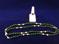 14K Gold Dark Green Jade Necklace and Ring Set