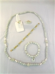 14K Gold and Green Apple Jade Jewelry Suite: Ring, Pendant, (2) Bracelets, Necklace