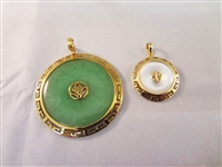 (2) 14k Gold Wrapped Jade Pendants: Dark Green and White
