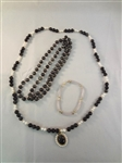14K Gold Smoky Black Jade Jewelry: (2) Necklaces, Pendant, Bracelet