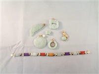 14k Gold and Green Apple Jade (6) Pendants, (1) Bracelet