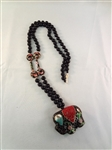 14k Gold and Black Jade Necklace with Elephant Cloisonne Pendant