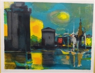"Marcel Mouly  (1918 - 2008) Signed Lithograph ""Cityscape"" Matted and Framed"