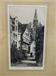 "Louis Whirter (Scottish 1873-1932) Original Etching ""Antwerp"" Matted and Framed"