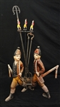 Set of Polychrome Hessian Soldiers Andirons with Matching Fire Tools and Stand