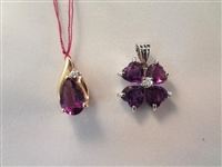 14K White Gold Amethyst and White Topaz Pendant, Amethyst and Diamond Pendant