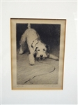"Morgan Dennis Terrier Dog Etching ""Lets Go"""