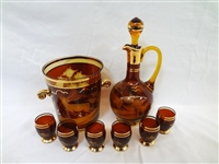 Czech Bohemian Amber Etched Decanter Set with Ice Bucket