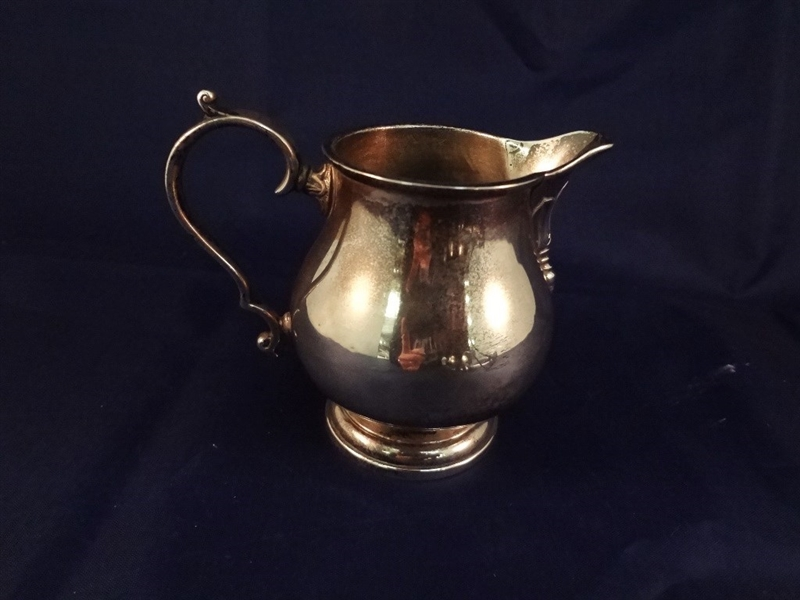English Sterling Silver Group: Tongs, Creamer, Footed Bowl, Small Nut Cellar