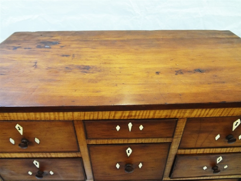 Early 20th Century 9 Drawer Dresser Bone Inlay Accent