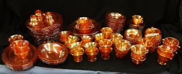 Carnival Glass Set Federal Normandie Marigold (127) Pieces