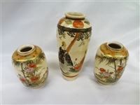 (3) Hand Painted Chinese Miniature Vases All Signed