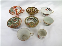 (5) Hand Painted Chinese Porcelain 18/19th Century Tea Cups and (3) Cups