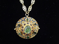 22k Gold European Necklace and Medallion With Precious Stones Stunning