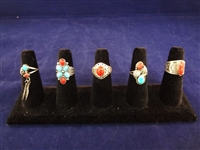 (5) Southwest Sterling Silver Turquoise/Coral Rings