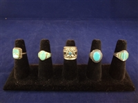 (5) Southwest Sterling Silver and Turquoise Rings