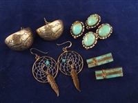 (5) Pairs Southwest Sterling Silver and Turquoise Earrings