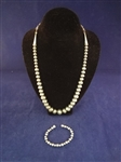 Carolyn Pollack Sterling Silver Bench Bead Necklace and Matching Bracelet