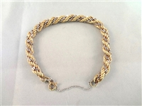 "14k Gold and Sterling Wrapped Rope Bracelet 2.25"" in Diameter"