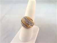 18k Gold Ring Weave Design White and Yellow Gold Size 7.5