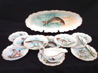 F & V Limoges Fish Platter, 12 Plates and Sauce Gravy Complete Set