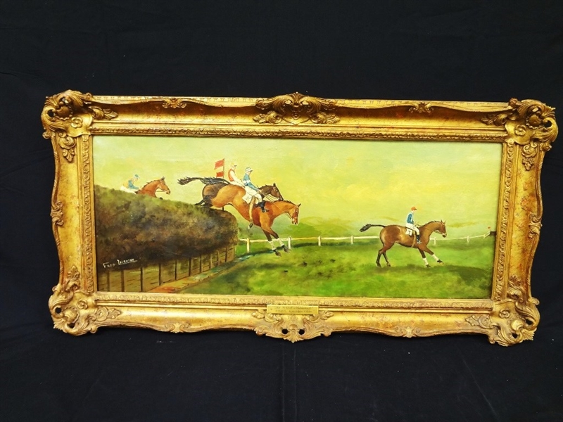 Fred Laughton Original Oil Painting Steeplechase The Grand National