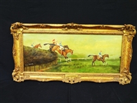 "Fred Laughton Original Oil Painting Steeplechase ""The Grand National"""