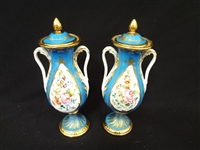 Sevres French Porcelain Pair of Covered Urns Acorn Finial