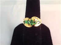 14K Gold Ring (3) Marquise Cut Emeralds (2) Pear Cut Emeralds Ring Size 7